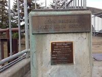 Information stone for Petaluma's downtown wooden river-crossing bridge