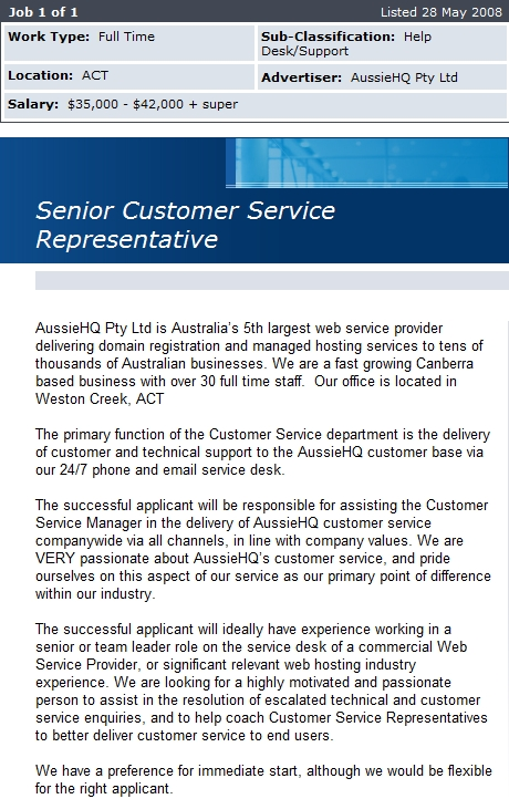 AussieHQ Senior Customer Service Representative