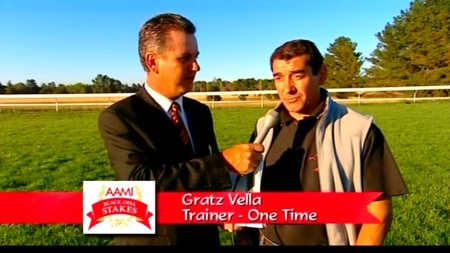 Mike Frame and Gratz Vella, trainer of One Time