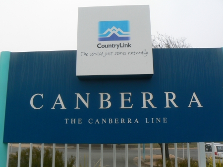 Identifying sign at the Canberra Railway Station