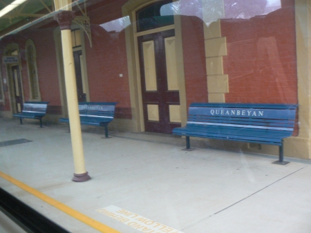 The Queanbeyan Train Station as seen from the 8am free trip train as part of the Canberra Railway Station open day