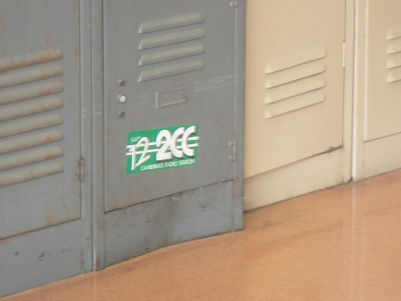 Old 2CC sticker on a locker at the Canberra Railway Station