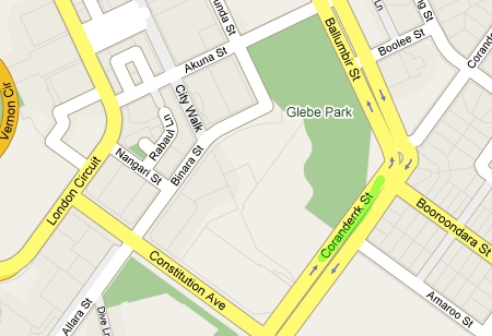 Map of where the traffic cones were scattered on Coranderrk Street