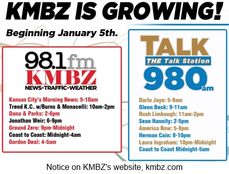 KMBZ's AM and FM signals splitting on January 5, 2015