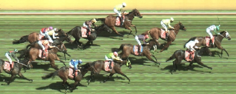 Photo finish of the 2015 Melbourne Cup. Image credit: Racing.com