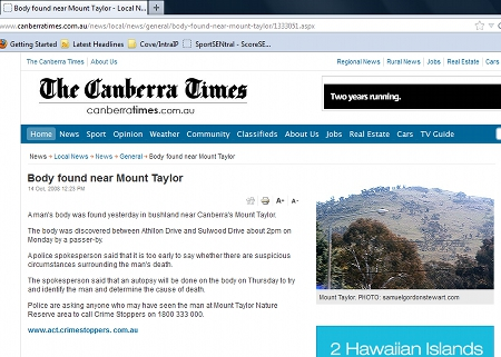 Screenshot of the article on the Canberra Times website