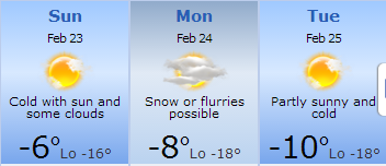 Fort Dodge forecast for 23-25 Feb 2014
