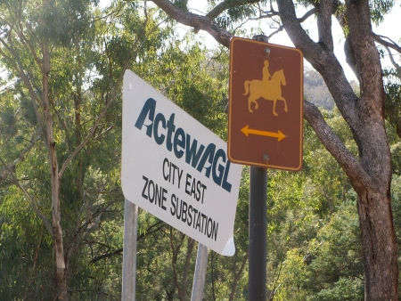 Mount Ainslie Substation and Horse Track sign