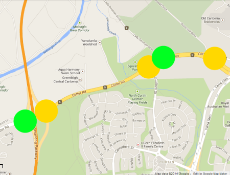 Map of the odd traffic light behaviour along Cotter Road.