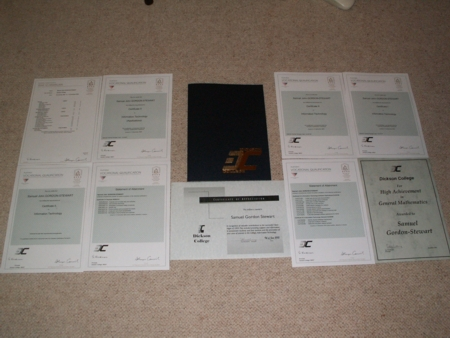 Samuel Gordon-Stewart's certificates from Year 12