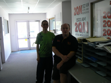 Samuel Gordon-Stewart and Andy Ingram at Radio 2QN Deniliquin