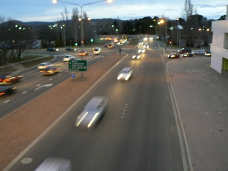 The intersection of Coranderrk St and Constitution Ave in Canberra at 5:34pm on Wednesday August 2, 2006