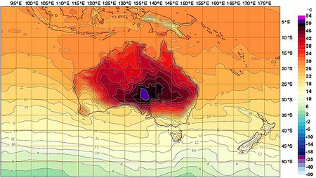 Temperature forecast map -- BOM 2013