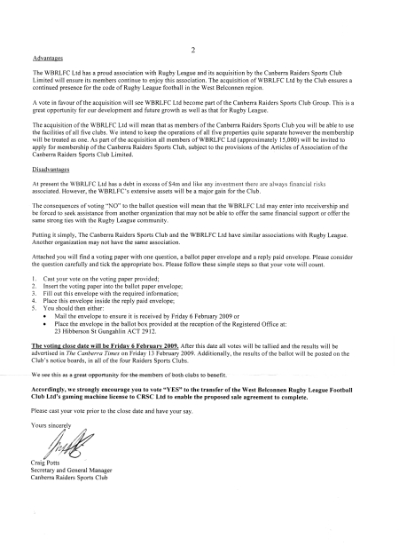 Letter from the Canberra Raiders Leagues Club - Page Two