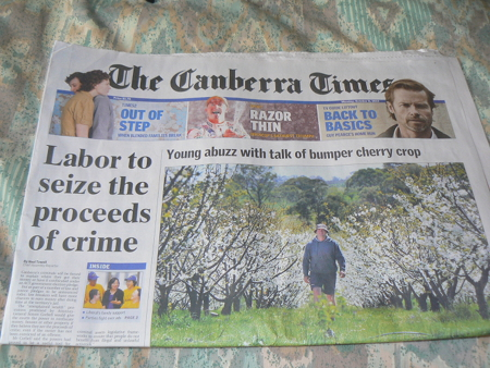 The front page of The Canberra Times, October 8, 2012
