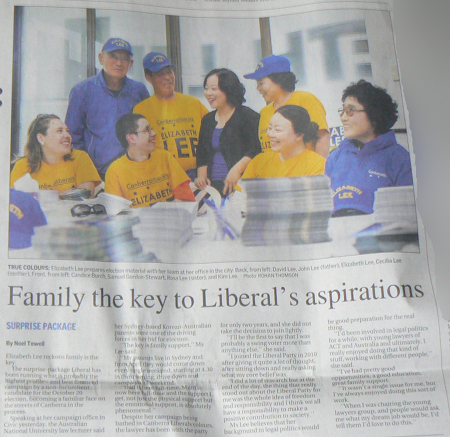 Article about Elizabeth Lee on page two of The Canberra Times, October 8, 2012