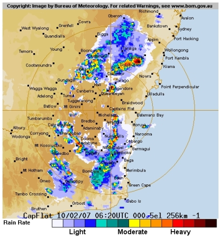 Canberra Weather Radar 5:20pm, February 10 2007