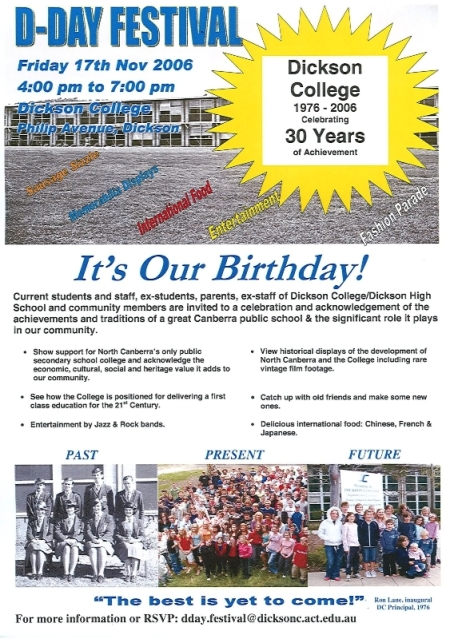Dickson College's 30th Birthday Celebrations