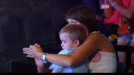 Eddie McGuire's wife and son in the Who Wants To Be A Millionaire audience
