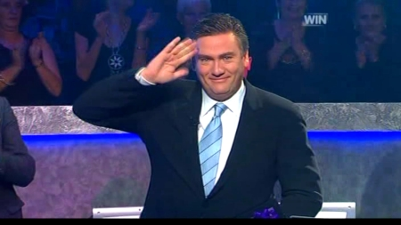 Eddie McGuire gives a final salute on his final episode of Who Wants To Be A Millionaire