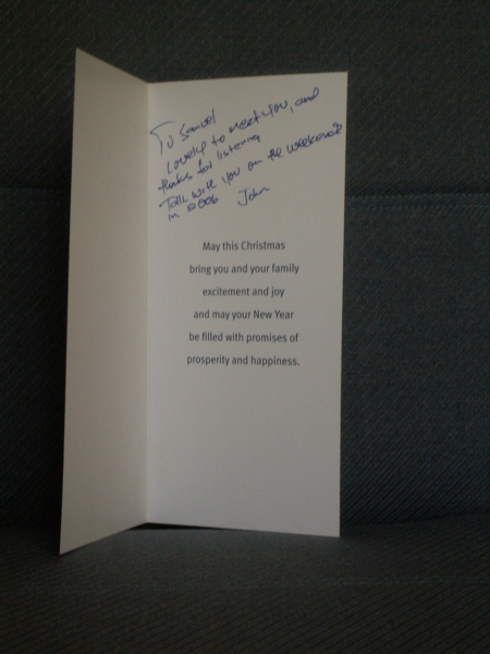 Christmas Card from John Kerr