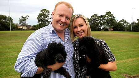 Jason Morrison, Heidi Tiltins, and their two dogs (image credit: Tim Hunter, Sydney Confidential, The Daily Telegraph