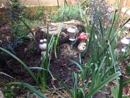 Nattie's final resting place in the back garden