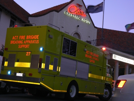 ACT Fire Brigade breating apparatus unit at the scene of the Olims Hotel fire. Monday November 12, 2007