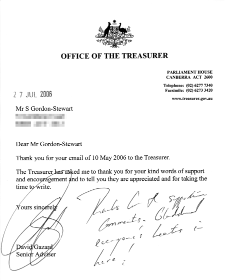 Letter from David Gazard, senior advisor to Peter Costello