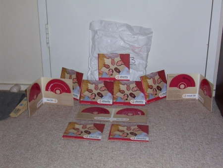 My shipment of Ubuntu Linux CDs
