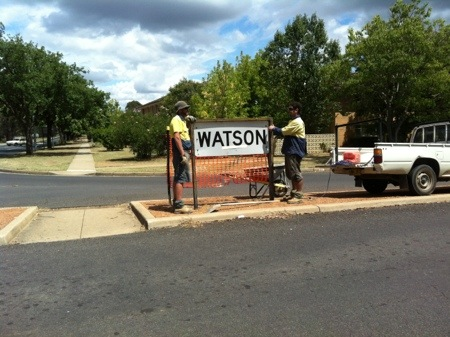 Watson sign at the corner of Knox and Antill Streets