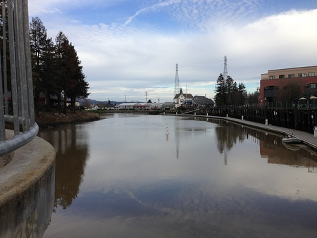Downtown Petaluma as seen from the Balshaw Bridge