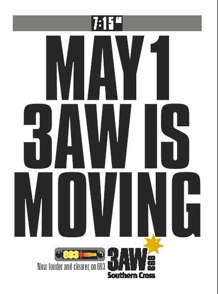 May 1 3AW Is Moving, now louder and clearer on 693