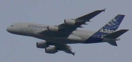 Airbus A380 over Canberra