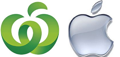 Woolworths logo and Apple logo