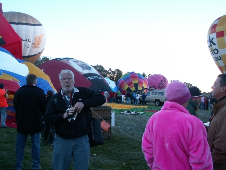Balloons inflating at the 2006 Canberra Balloon Fiesta