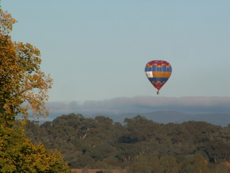 The Doma Hotels balloon flies over Yarralumla at the 2006 Canberra Balloon Fiesta