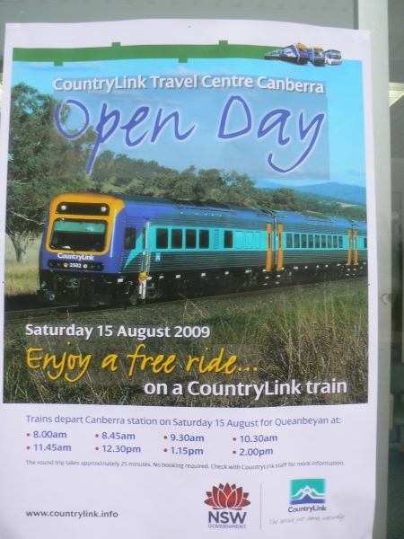 Open day train schedule at the Canberra Railway Station