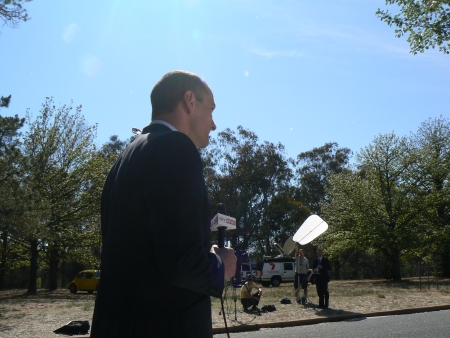 Sky News' Kieran Gilbert outside Government House, Canberra. October 14 2007