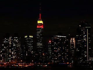 Empire State Building with communist colours - image courtesy Associated Press