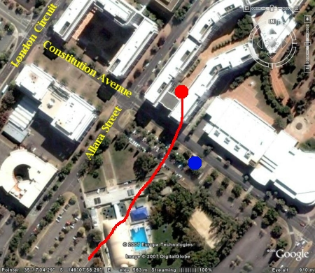 Map of Dawn Drifters balloon escaping from precarious position near Airservices Australia building, Canberra, January 28 2007