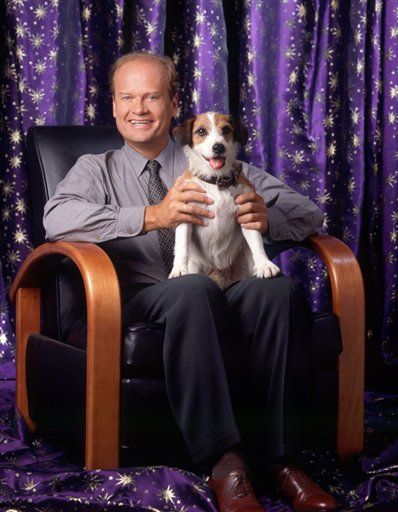 Moose sitting on Frasier's lap
