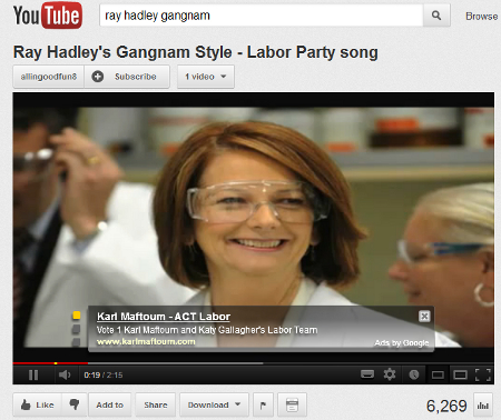 ACT Labor ad overlayed on Ray Hadley's