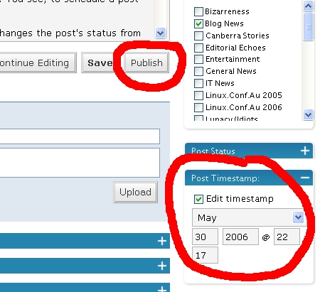 Setting post timestamp in WordPress