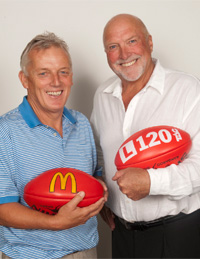 Sandy Roberts and Rex Hunt. Image courtesy Crocmedia