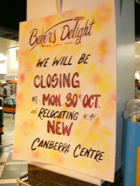 Bakers Delight Moving Sign, October 2006