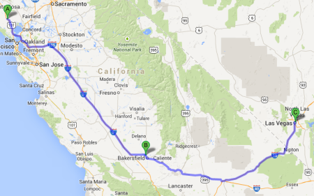 Map of my travel plan from Petaluma to Las Vegas