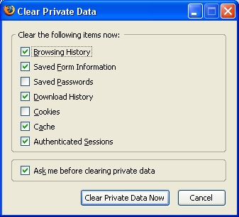 The Clear Private Data Dialog Box