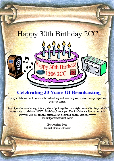 2CC 30th Birthday Card from Samuel