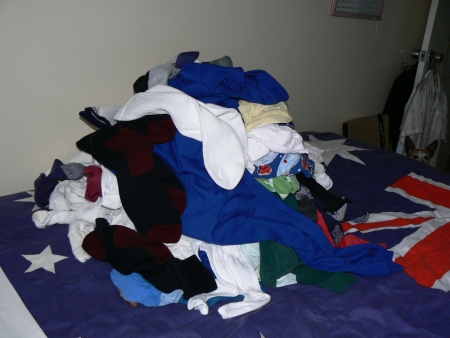 Pile of clothes to be sorted